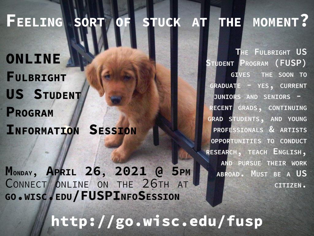 April 26, 2021 Fulbright US Student Program information session flyer
