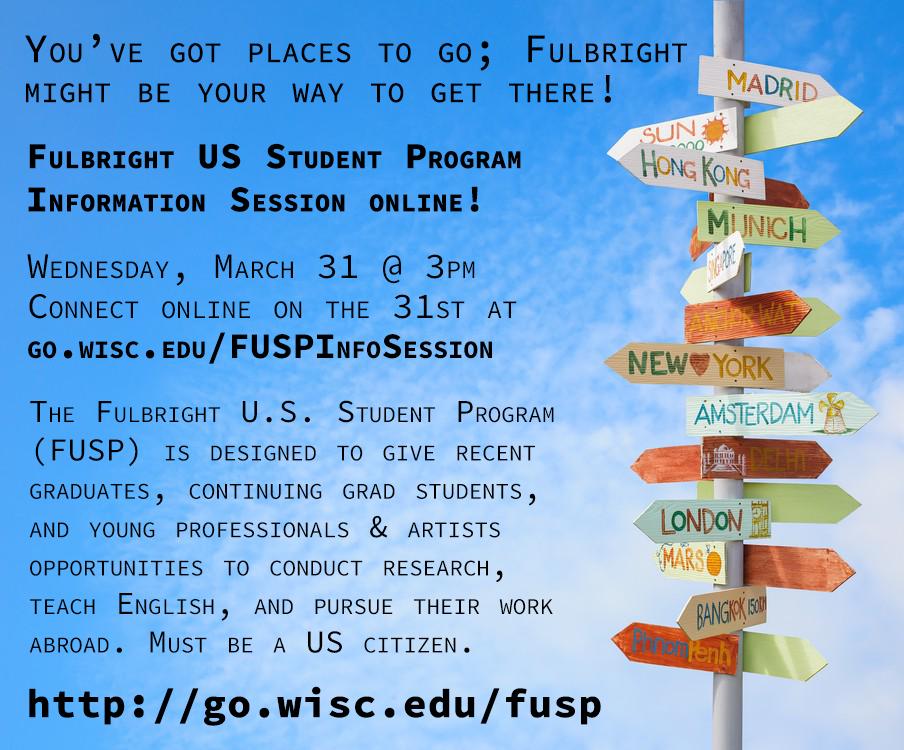 March 31, 2021 Fulbright US Student Program information session flyer