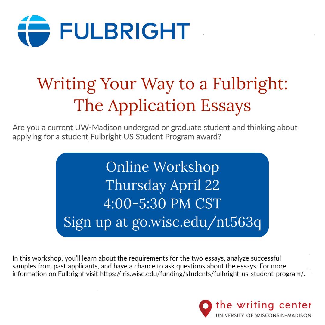 Writing Center Fulbright application essays workshop (April 2021)