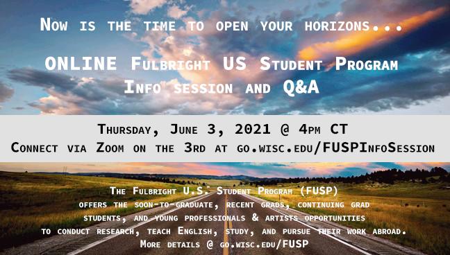 Fulbright information session on June 3, 2021